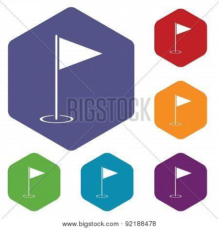 Flagstick hexagon icon set
