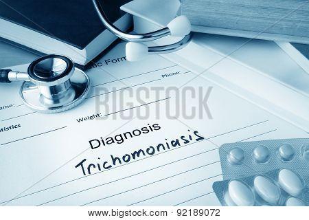 Diagnostic form with diagnosis Trichomoniasis