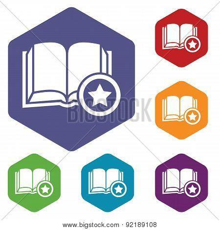 Favorite book hexagon icon set