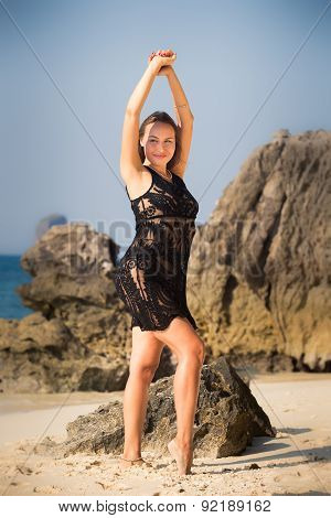 Brunette Girl In Black Transparent Lace Dress