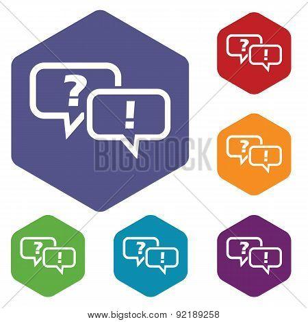Question answer hexagon icon set