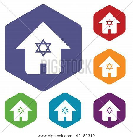 Jewish house hexagon icon set