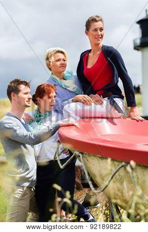 Friends enjoying vacation at German north sea beach