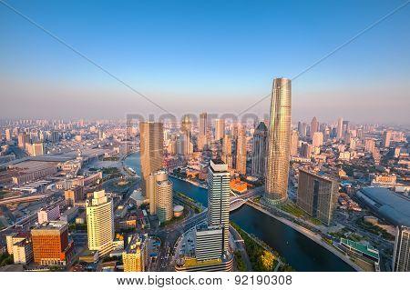 Tianjin Skyline At Dusk