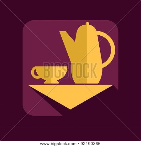 Cup and teapot on a burgundy background
