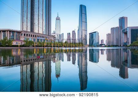 Beautiful Tianjin Cityscape At Dusk