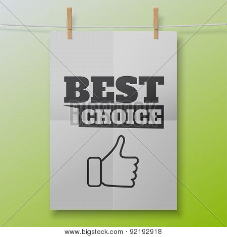 Vector best choice poster like white sheet on clothespins. Illustration for your business or online