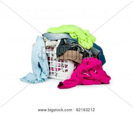 Clothes With Basket Isolated On White Background