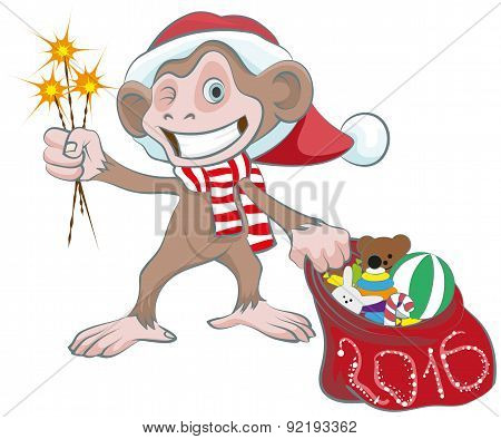 Monkey in Santa hats holding sparkler and bag of gifts