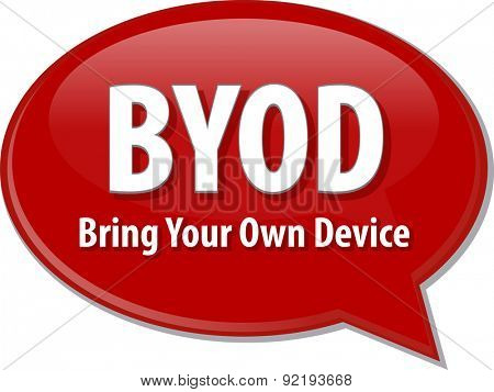 Speech bubble illustration of information technology acronym abbreviation term definition BYOD Bring Your Own Device