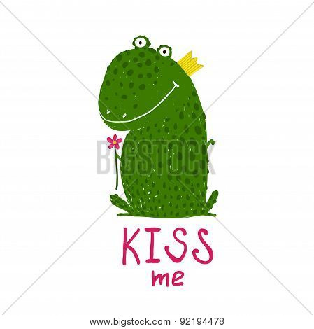 Fun Green Magic Frog Asking for Kiss Smiling