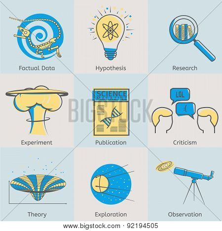 Flat line science icons set of factual data, hypothesis, research, experiment, publication, criticis
