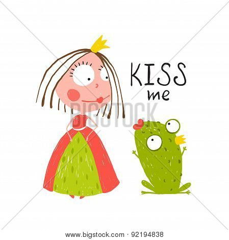 Baby Princess and Frog Asking for Kiss