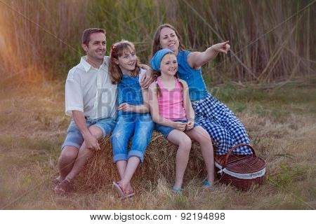 healthy happy smiling family outdoors in summer picnic