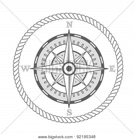 Vector Nautical Label. Vintage Compass, Icon And Design Element.