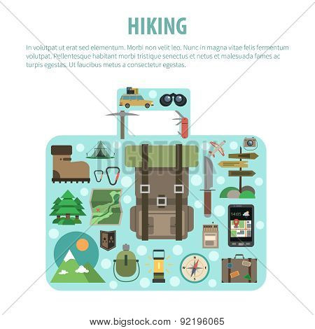 Hiking concept baggage shaped icons composition