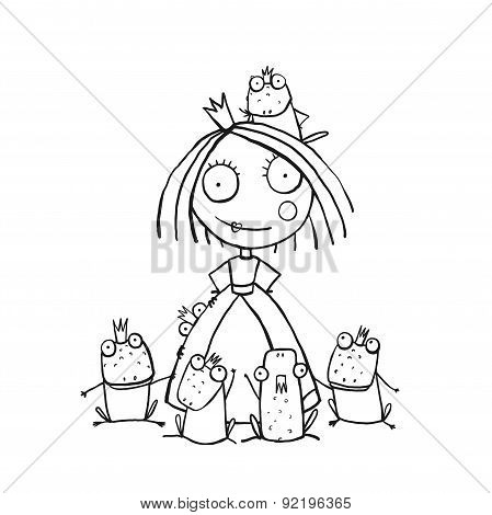 Princess and Many Prince Frogs Portrait Coloring Page