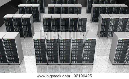 Server room in datacenter, clusters