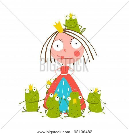 Princess and Many Prince Frogs Portrait Colored Drawing