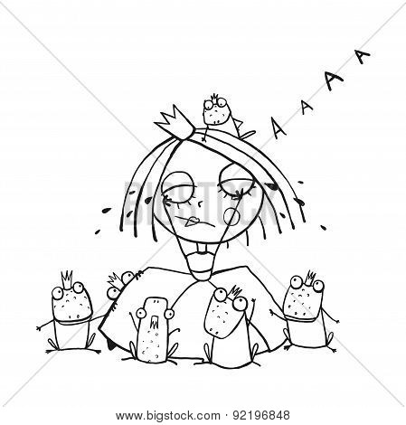 Princess Crying and Many Prince Frogs Coloring Page Outline Drawing