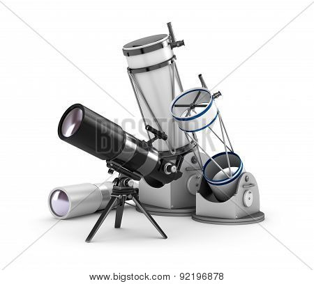 Telescope Set On White Background