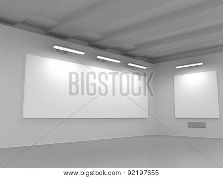 Interior Of An Exhibition Hall With Empty Billboards