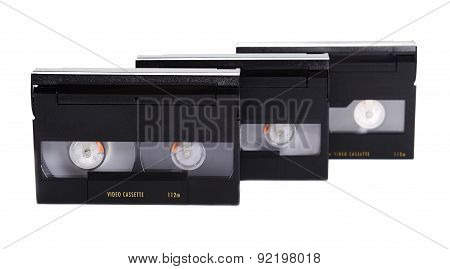 Three Video Cassettes on a white background