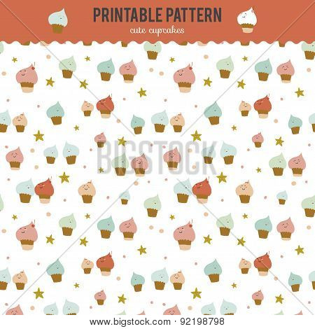 Cute funny seamless pattern with sweet cupcakes.