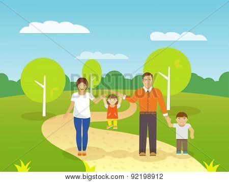 Family Outdoors Illustration