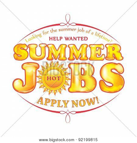 Help wanted. Summer job opportunity sticker for print