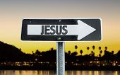 picture of jesus sign  - Jesus direction sign with sunset background - JPG