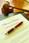 pic of divorce-papers  - Divorce Decree document with gavel and a pen - JPG