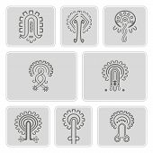 Постер, плакат: set of monochrome icons with American Indians relics dingbats characters part 11
