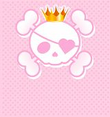 pic of skull crossbones  - Very cute pink Skull place card with place for copy - JPG