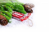picture of sled  - Decorative sled on snow with fir tree branches on white background - JPG