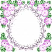 image of geranium  - Vintage flower frame with geraniums and lace frame - JPG