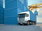picture of dock  - Stack of Freight Containers at the Docks with Truck - JPG