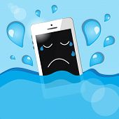 stock photo of grieving  - phone into the water  - JPG