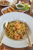 picture of thai cuisine  - close up of spicy spaghetti thai cuisine - JPG