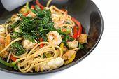 foto of thai cuisine  - spicy spaghetti thai cuisine on white background - JPG