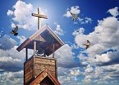 picture of heavenly  - An Old Church Bell Tower with Cross Heavenly Light and Doves - JPG