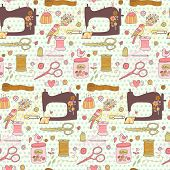 picture of scissors  - Lovely needlework seamless pattern in vector - JPG