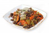 stock photo of chinese parsley  - steamed vegetables and meat with sesame - JPG