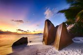 picture of vegetation  - Beautifully shaped granite boulders and a dramatic sunset  at Anse Source d - JPG