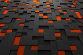 foto of fi  - Abstract 3d rendering of black and orange futuristic surface with squares - JPG