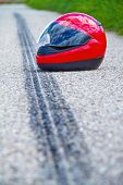 stock photo of skid  - An accident with a motorcycle - JPG