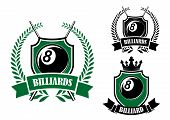 image of balls  - Eight ball billiards or pool emblem with crossed cues - JPG