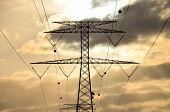 stock photo of transmission lines  - High Voltage Electric Transmission Tower Energy Pylon - JPG