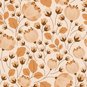 image of dainty  - Dainty retro floral beige and brown seamless pattern with buds - JPG