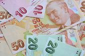 stock photo of turkish lira  - Different Banknotes of turkish Currency  - JPG